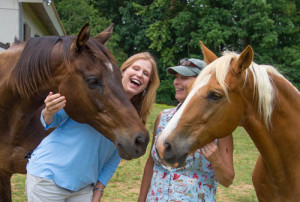 Schelli and Lisa with Horses