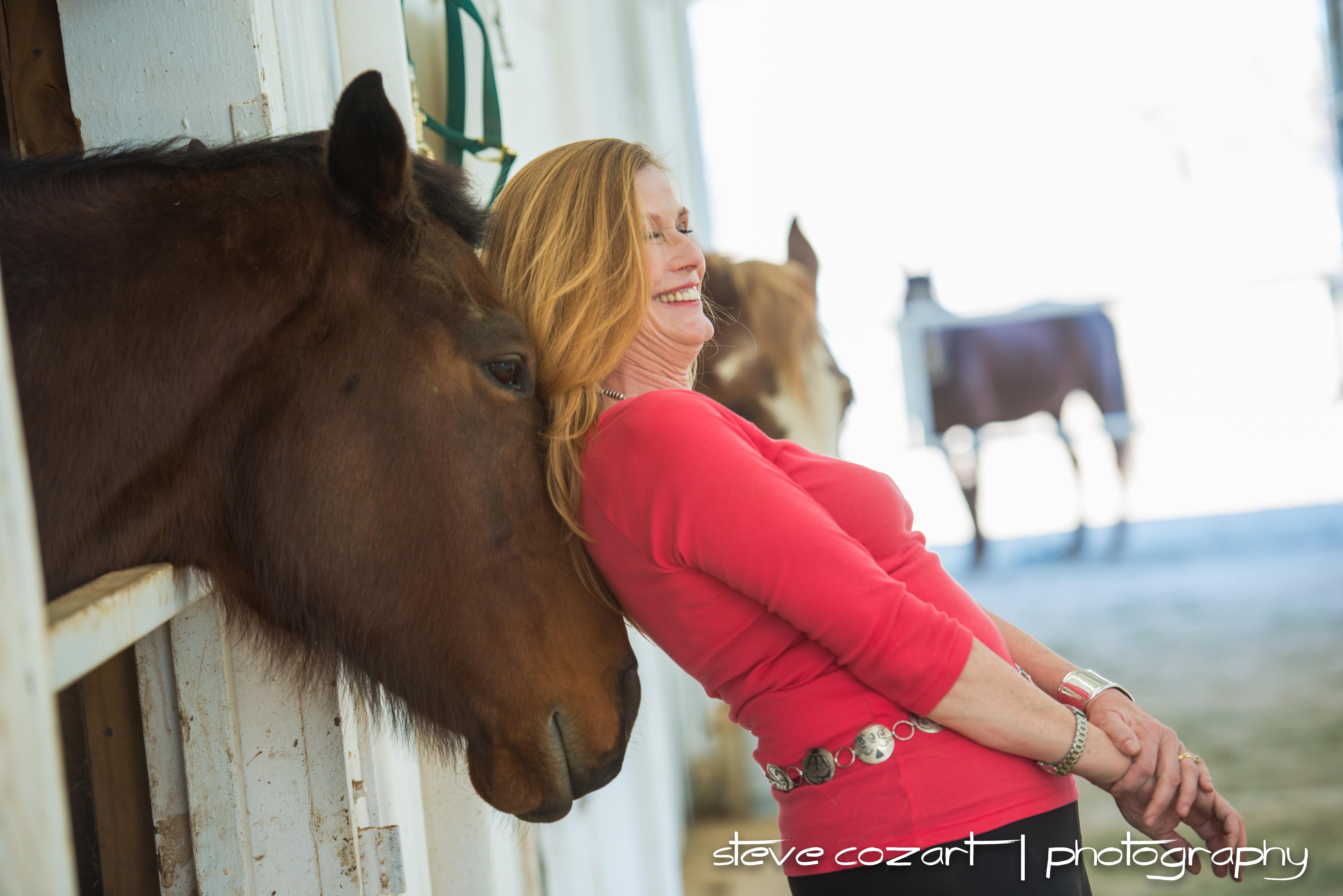 Lisa and Schelli with horses